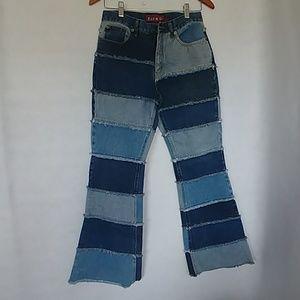 Vintage 90s Zana Di Patchwork Denim Flare Jeans